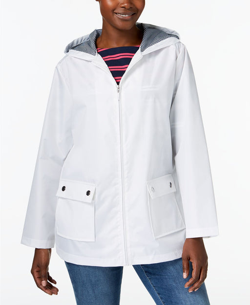 Karen Scott Petite Waterproof Utility Jacket Bright White PS
