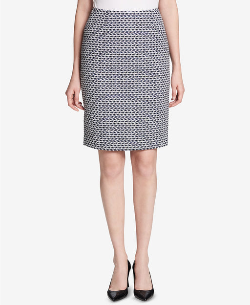 Calvin Klein Metallic Tweed Pencil Skirt Black Cream 6