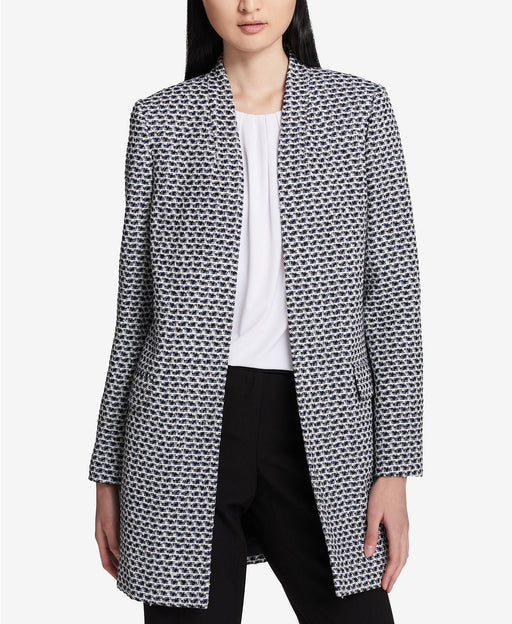 Calvin Klein Boucle Tweed Topper Jacket BlackCreamRegatta 2