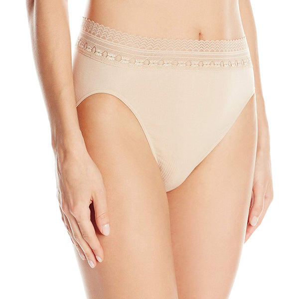 Bali Women's Comfort Revolution Seamless High-Cut Brief Panty, Nude Lace, 6/7