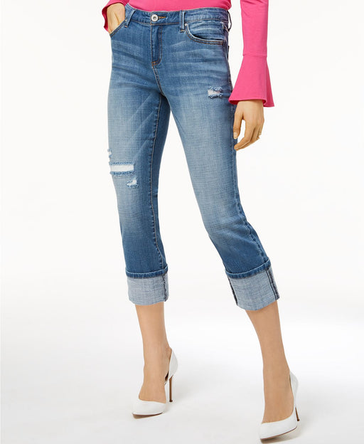 Inc Destructed Cropped Jeans Blue 12