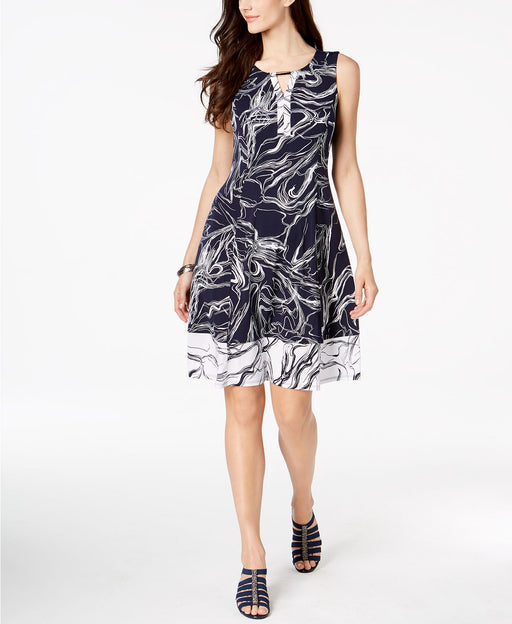 JM Collection Abstract-Print Keyhole Dress Blue Abstract S