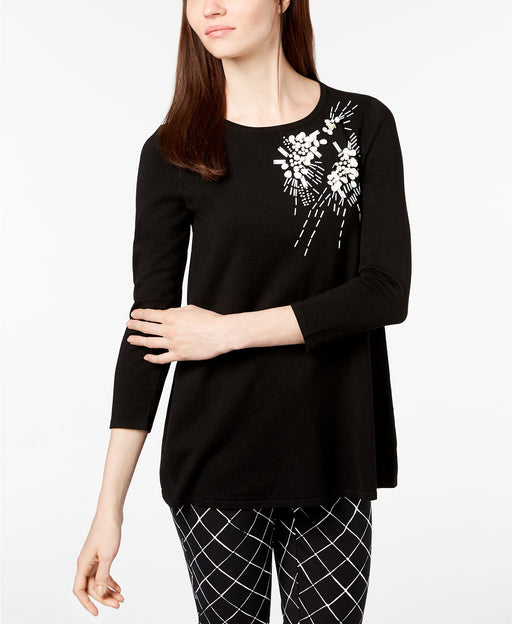 Alfani Petite Beaded Scoop-Neck Sweat Deep Black PXS
