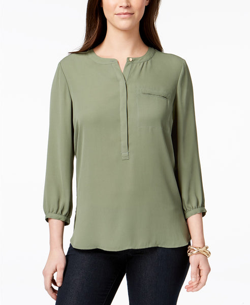 JM Collection Pleated-Back Blouse Soft Iris L