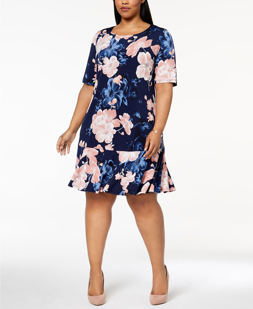 Connected Plus Size Floral-Print Sheath BlackDusty Rose 20W