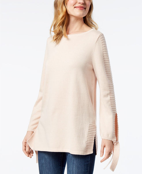 Style Co Tie-Sleeve Sweater Crushed Petal L