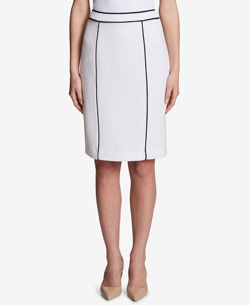 Calvin Klein Piped-Trim Pencil Skirt WhiteBlack 4