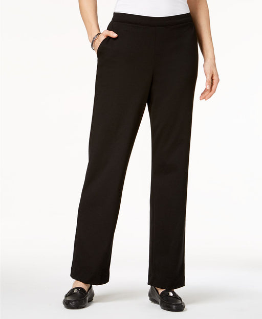 Alfred Dunner Pull-On Straight-Leg Pants Black 12
