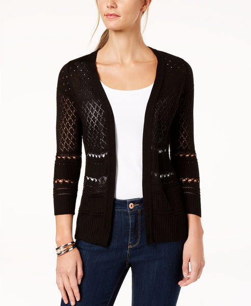 NY Collection Petite Pointelle Cardigan Black PXL