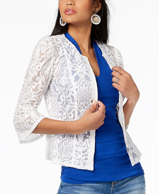 INC International Concepts Petite Illusion-Lace Peplum Ja Bright White PL