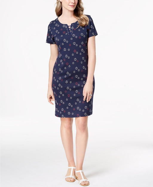 Karen Scott Lace-Up Shift Dress Intrepid Blue M