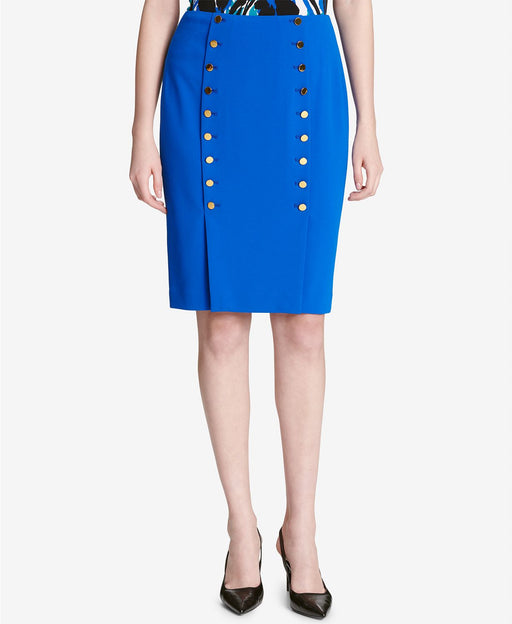 Calvin Klein Women's Button-Front Sailor Pencil Skirt (Bold Blue, 12)