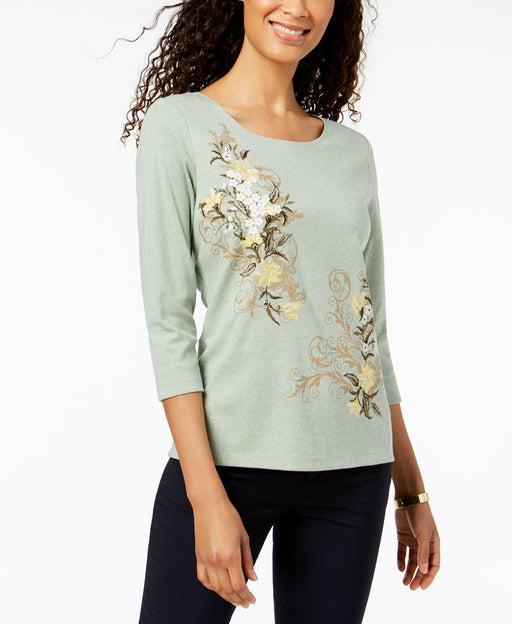 Karen Scott Floral-Applique Top Light Sage Heather S