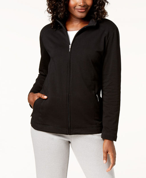 Karen Scott Long Sleeve Zip Mock Neck Fit Jacket Black LARGE