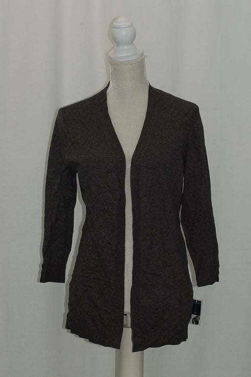 Karen Scott Ribbed-Yoke Open Cardigan Charcoal Heather M