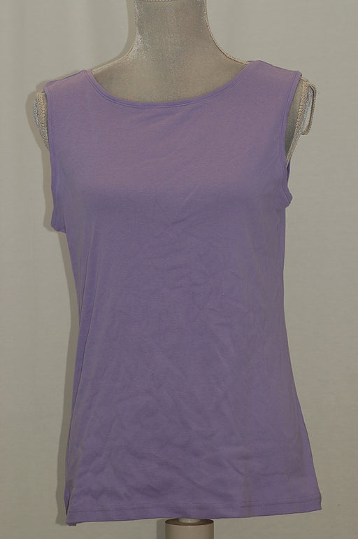 Karen Scott Cotton Sleeveless Crew-Neck Top Lilac Sachet M