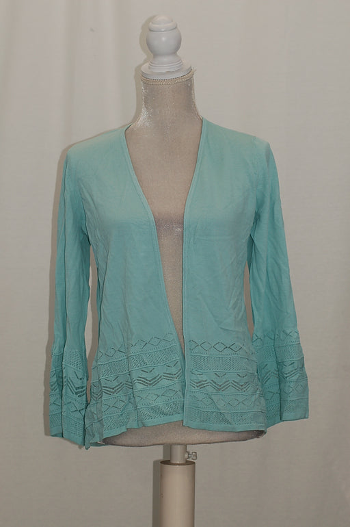 Charter Club 34-Sleeve Pointelle-Knit Card Mint Aqua S