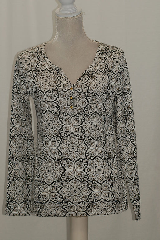 Karen Scott Print Henley Top Deep Black Combo S