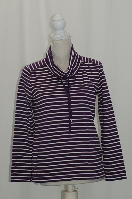 Karen Scott Petite Striped Funnel-Neck Top Cassis PS