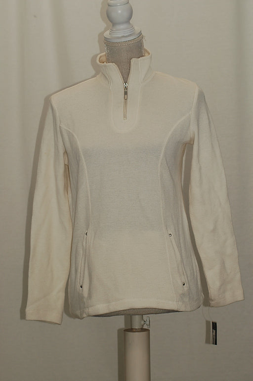 Karen Scott Petite Quarter-Zip Pullover Jacket Eggshell PS