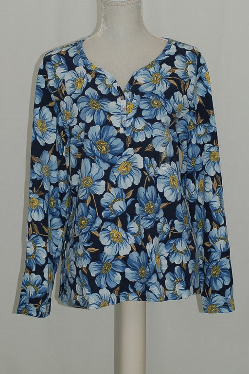 Karen Scott Print Henley Top Intrepid Blue Combo S