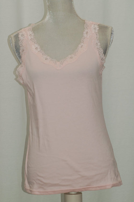 Karen Scott Lace-Trim Tank Top Blush L