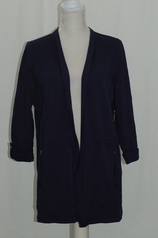 Karen Scott 34-Sleeve Open Front Cardigan Intrepid Blue XS