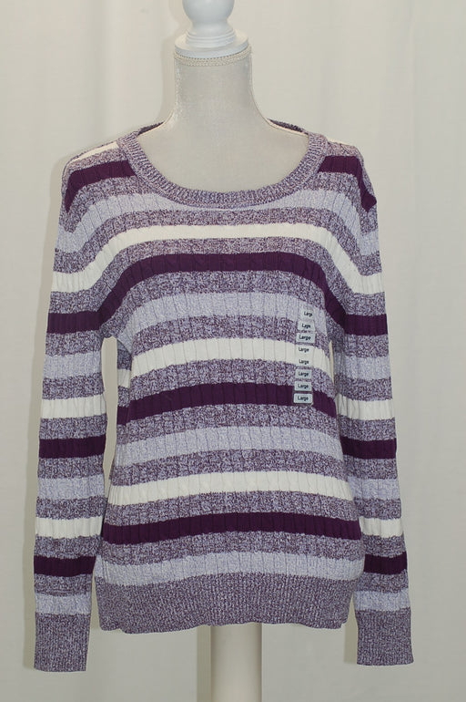 Karen Scott Cotton Striped Cable-Knit Swea Purple Combo L