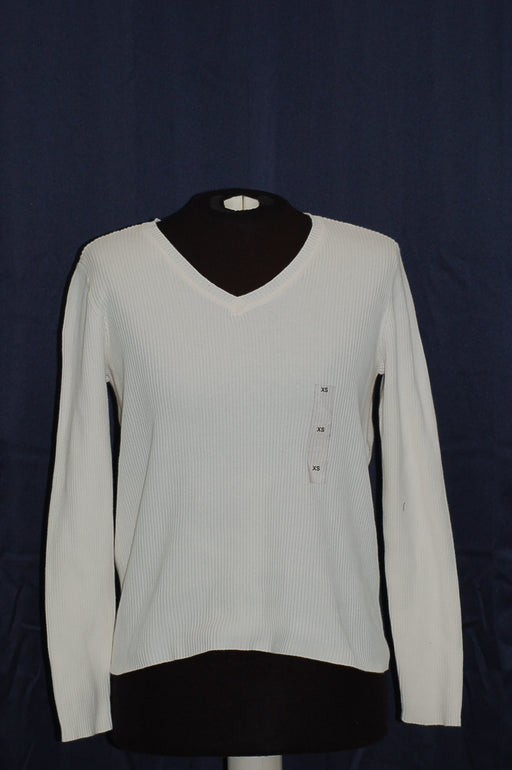 Karen Scott Cotton V-Neck Sweater Winter White XS