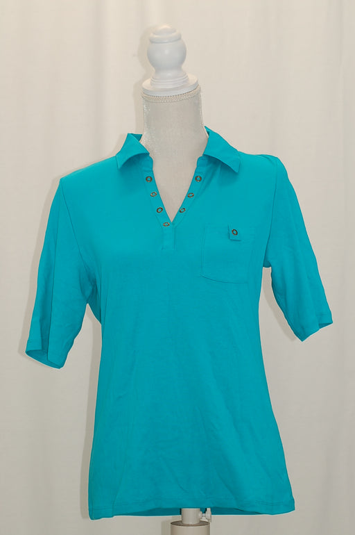 Karen Scott Studded-Collar Polo Shirt Crisp Teal M