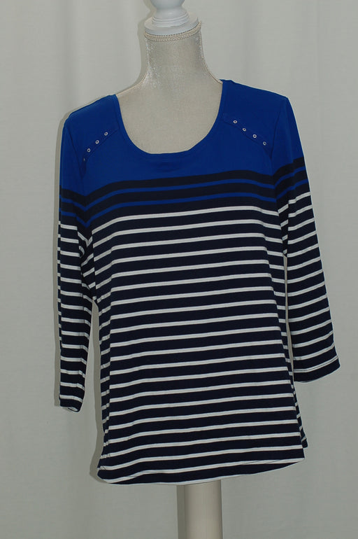 Karen Scott Striped Grommet-Detail T-Shirt Ultra Blue XXL