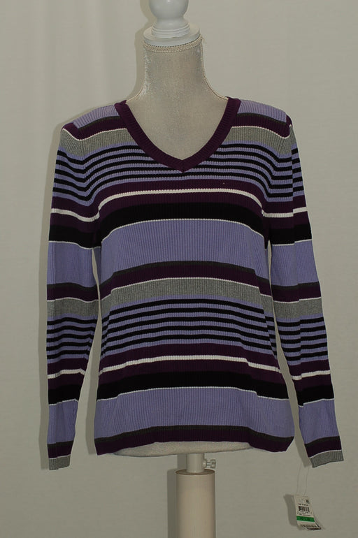 Karen Scott Petite Cotton Striped Sweater Purple Bliss Combo PL