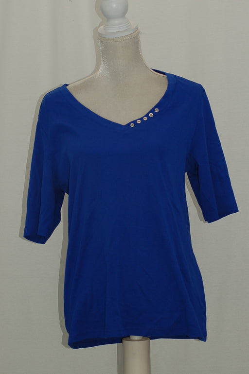 Karen Scott Elbow-Sleeve Cotton Top Ultra Blue L