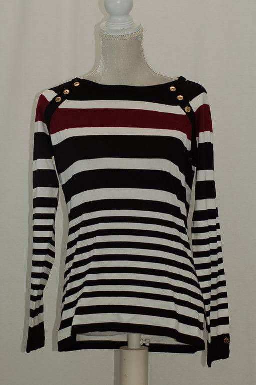Karen Scott Striped Button-Shoulder Sweate Black Combo M