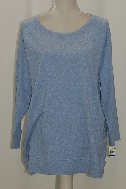 Karen Scott 34-Sleeve Sweatshirt Light Blue Heather XL