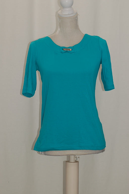 Karen Scott Cotton Embellished T-Shirt Crisp Teal XS