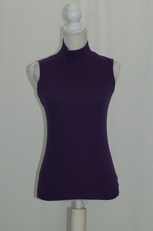 Karen Scott Mock-Neck Tank Top Cassis XS