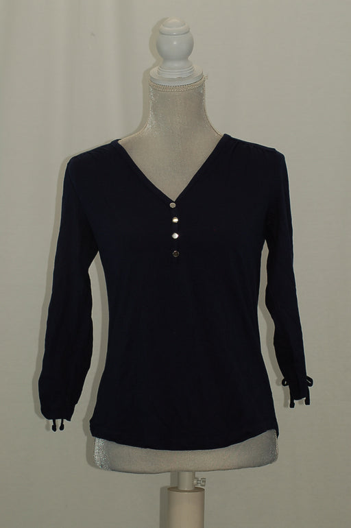Karen Scott Petite Cotton Cinched-Sleeve H Intrepid Blue PM