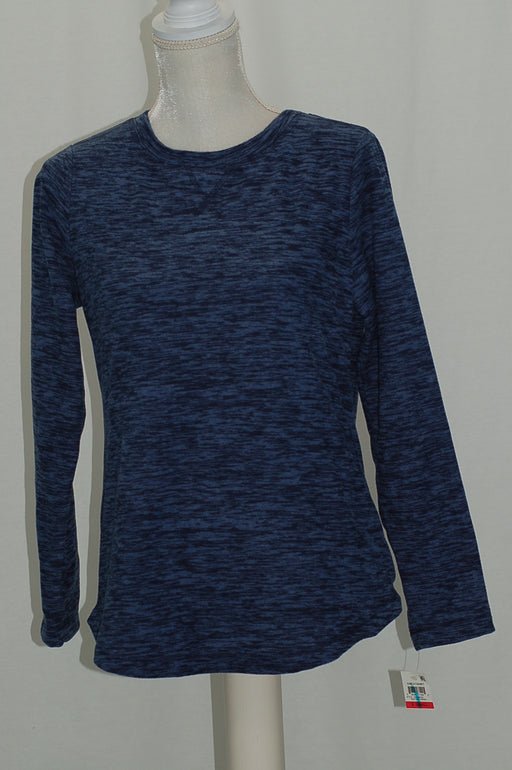 Karen Scott Fleece Crew-Neck Sweatshirt Heather Indigo XS