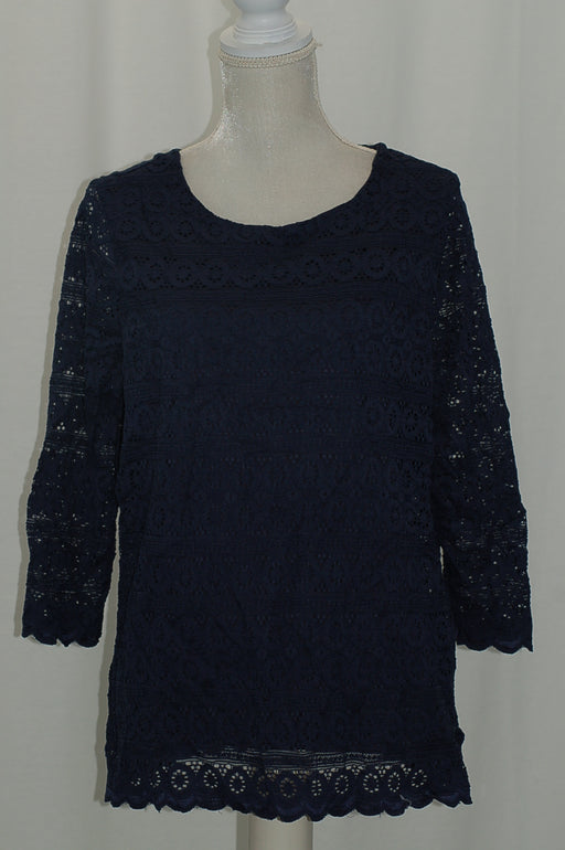 Charter Club 34-Sleeve Lace Top Intrepid Blue XL