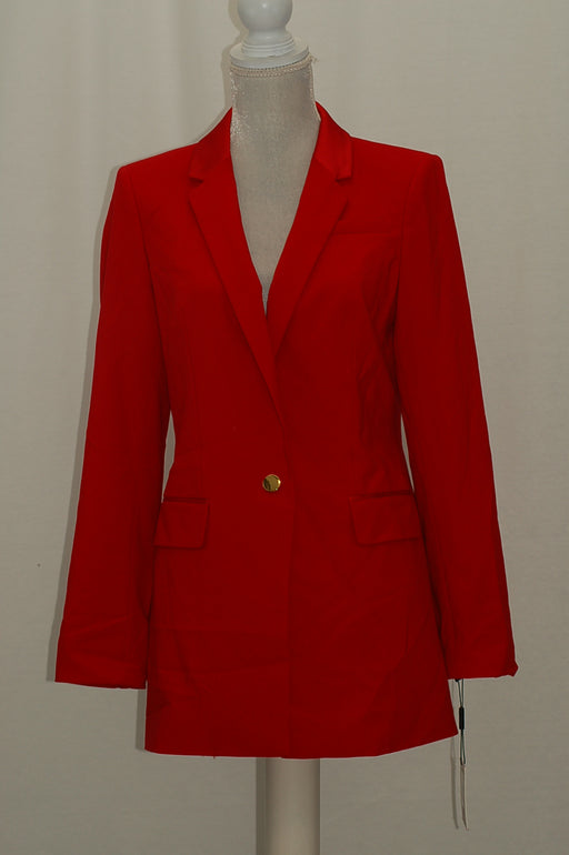 Calvin Klein Faux-Leather-Collar Blazer Red 6