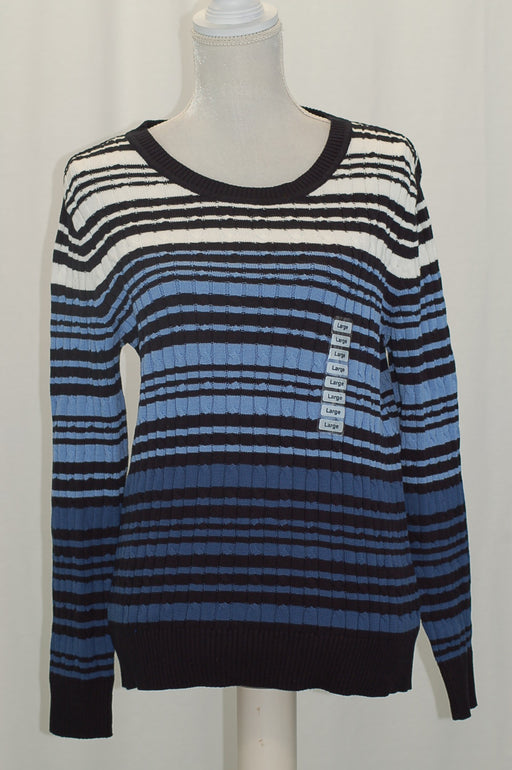 Karen Scott Cotton Striped Cable-Knit Sweater Intrepid Combo M