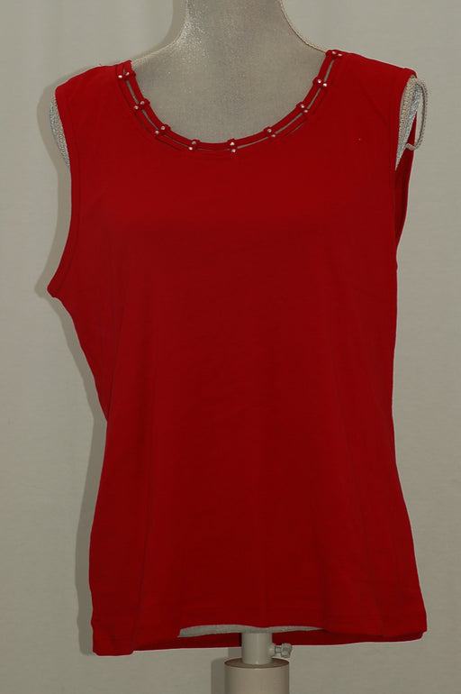 Karen Scott Petite Lattice-Neck Tank Top, New Red Amore PXL