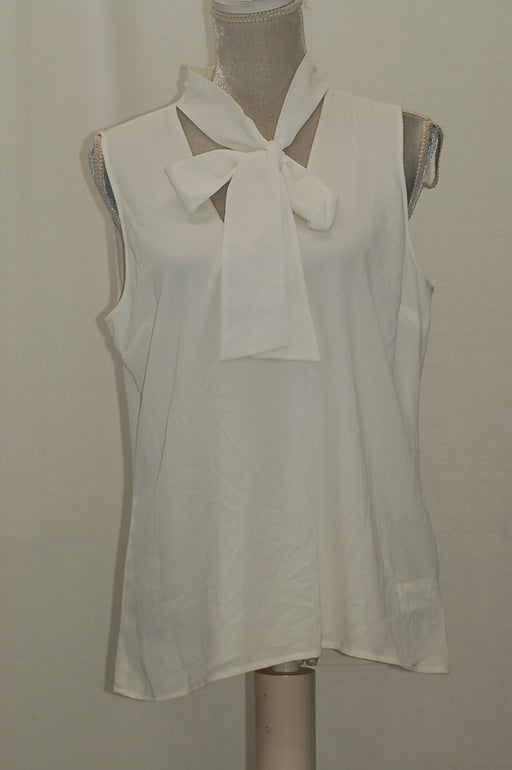 Michael Kors Petite Tie-Neck Sleeveless Top White 12P