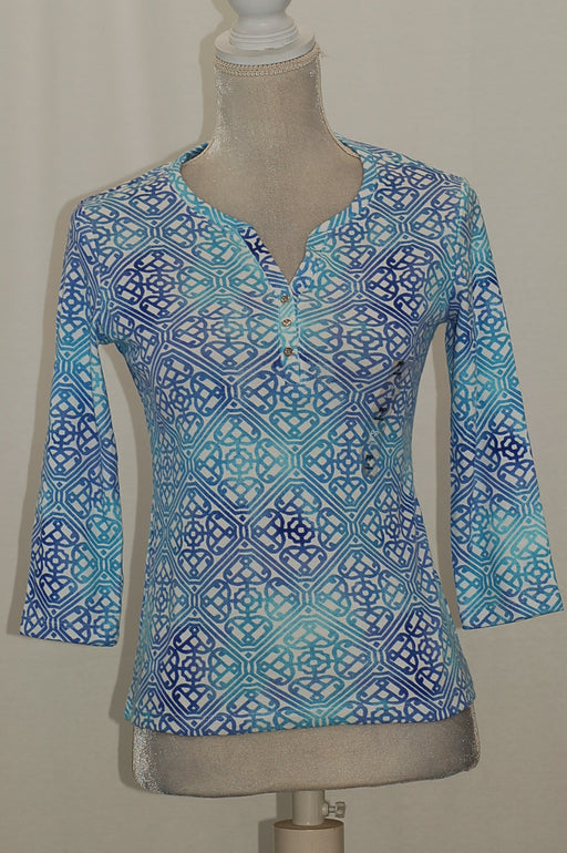 Karen Scott Petite Cotton Printed 34-Slee Ultra Blue PXS