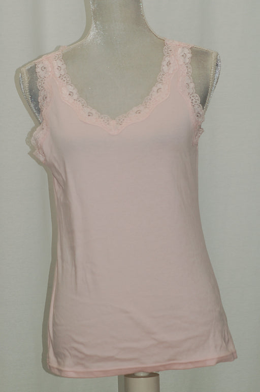 Karen Scott Lace-Trim Tank Top Blush S