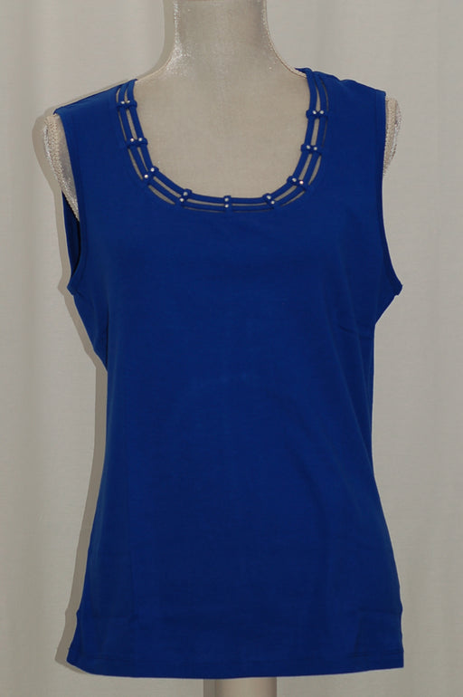 Karen Scott Studded Tank Top Ultra Blue L