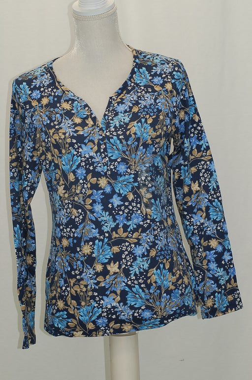 Karen Scott Print Henley Top Intrepid Blue M