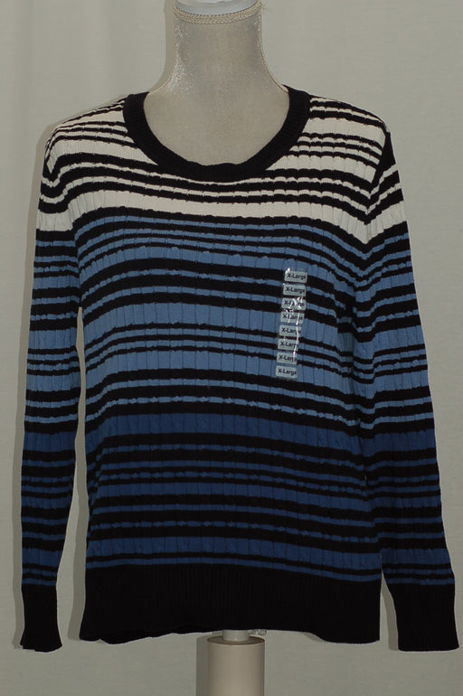 Karen Scott Cotton Striped Cable-Knit Swea Intrepid Combo XL