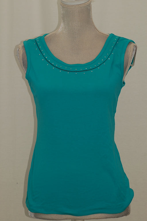 Karen Scott Cotton Studded Tank Top Crisp Teal XS
